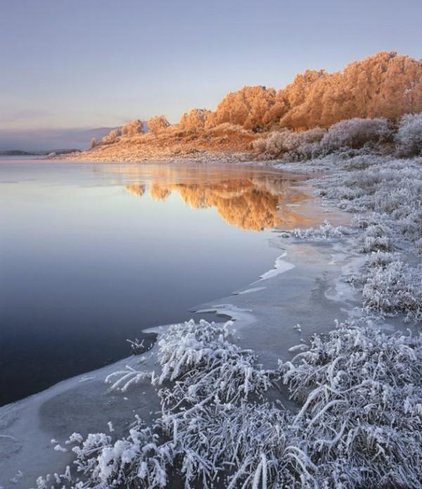 Lac gelé dans le nord de l'Angleterre