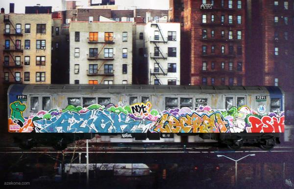 Le métro de New-York, et ses graffitis (vous noterez le tag en bas à  droite du wagon...)