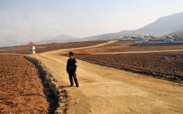 Un soldat surveille les paysans sur plusieurs parcelles