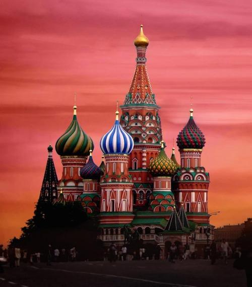 Couché de soleil sur la place rouge de Moscou