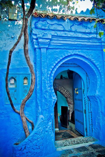 Porte bleue à Chefchaouen au Maroc
