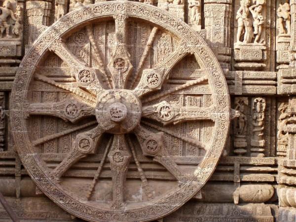 La roue Konarak, au temple de Surya en Inde