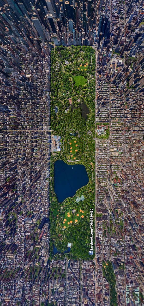 Central Park, vue satellite