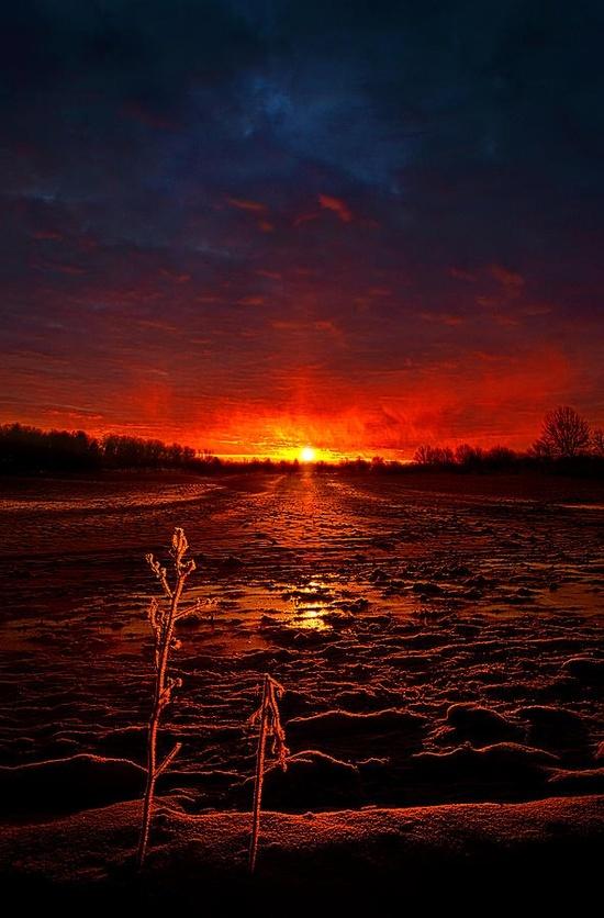 C'est beau un coucher de soleil sur la neige, en fait...