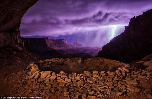 Orage à Canyonland dans l'Utah